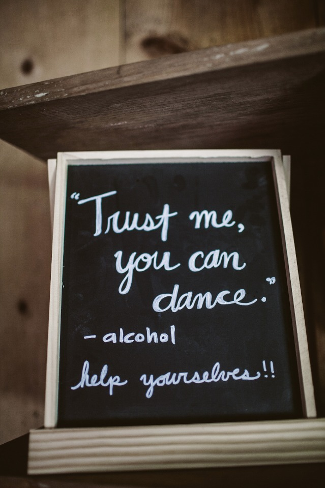 Open bar chalkboard sign idea