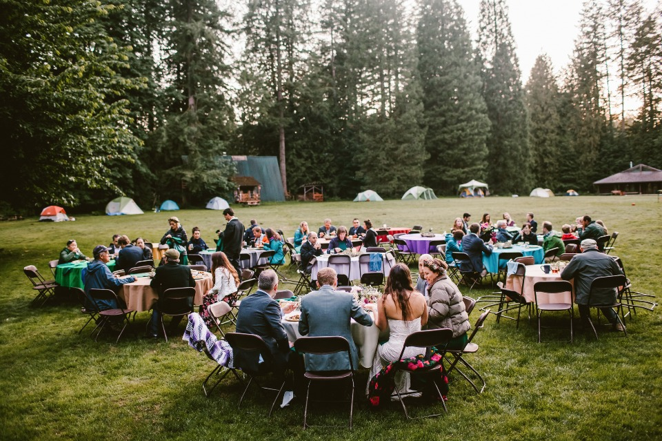 Outdoor camp themed wedding