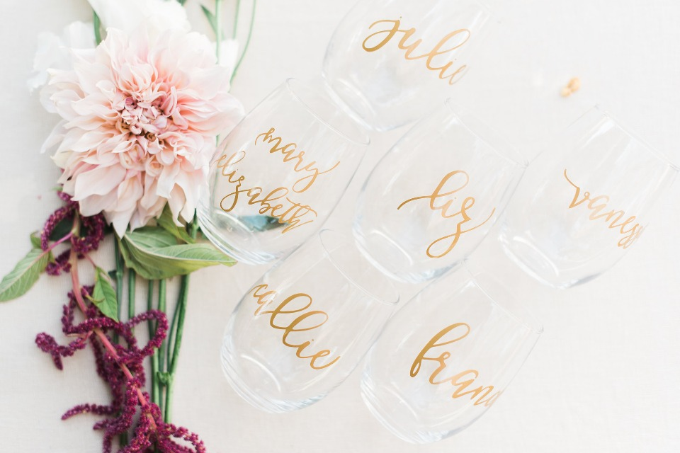 customized bridesmaid wine glasses