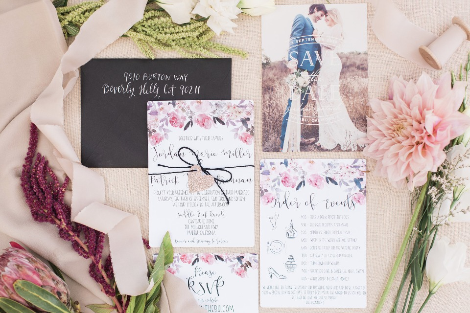 floral wedding stationery