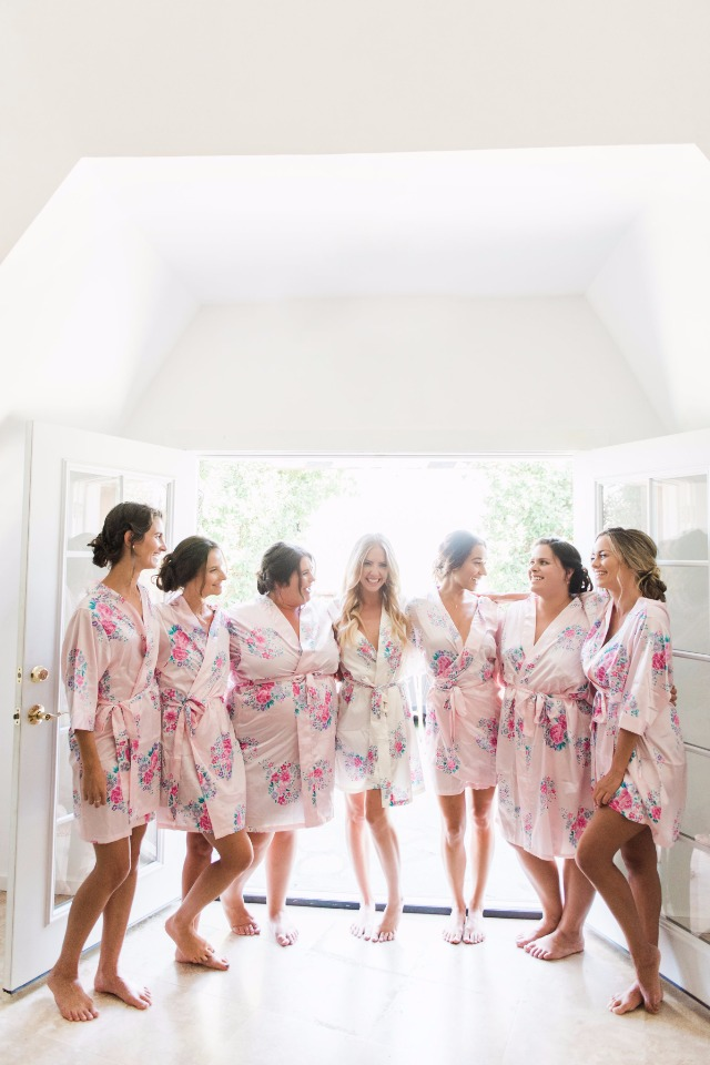 bridesmaids in their floral getting ready robes