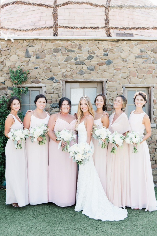 bridesmaids in soft blush and peach