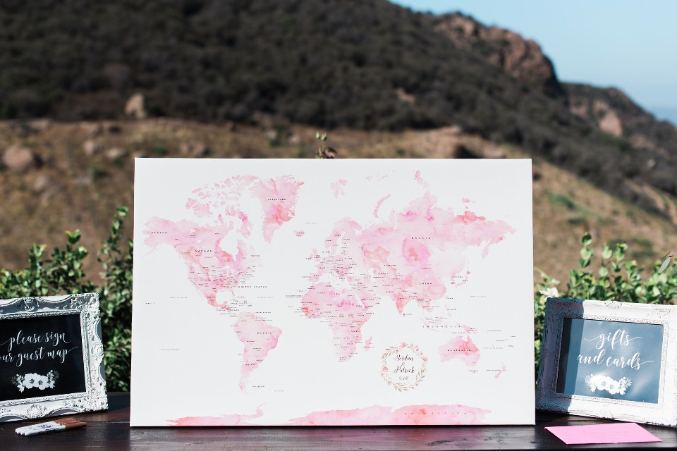 watercolor world map wedding guest book