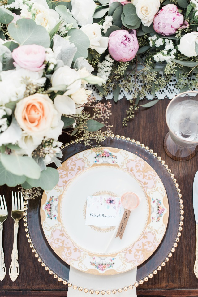 gold and clear wedding china