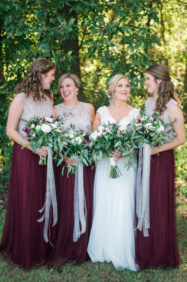 beige lace and tulle bridesmaid dresses