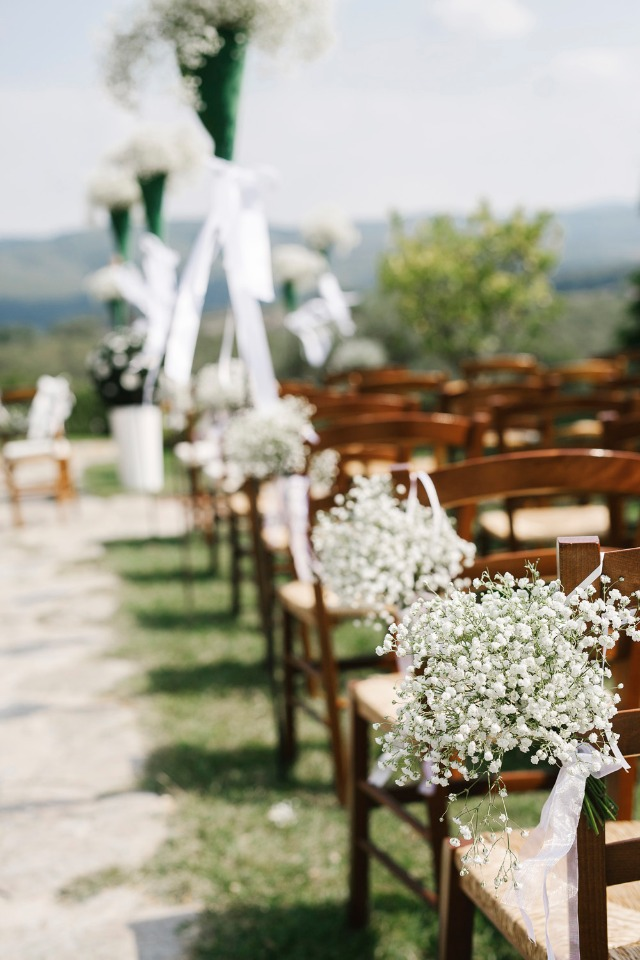 Babys breath on the chairs