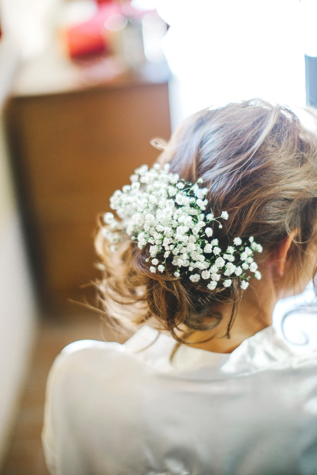 Babys breath bridal hair