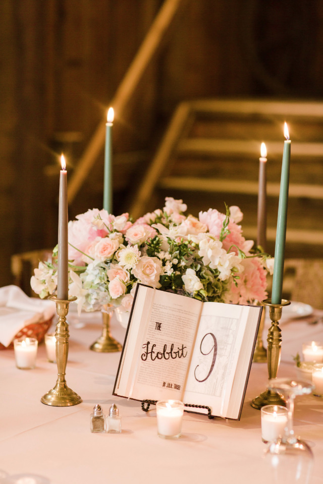 book and candle wedding centerpiece idea