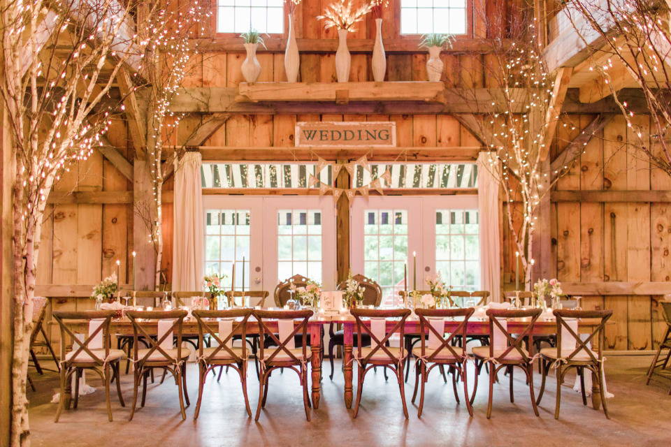barn wedding reception with twinkle lights