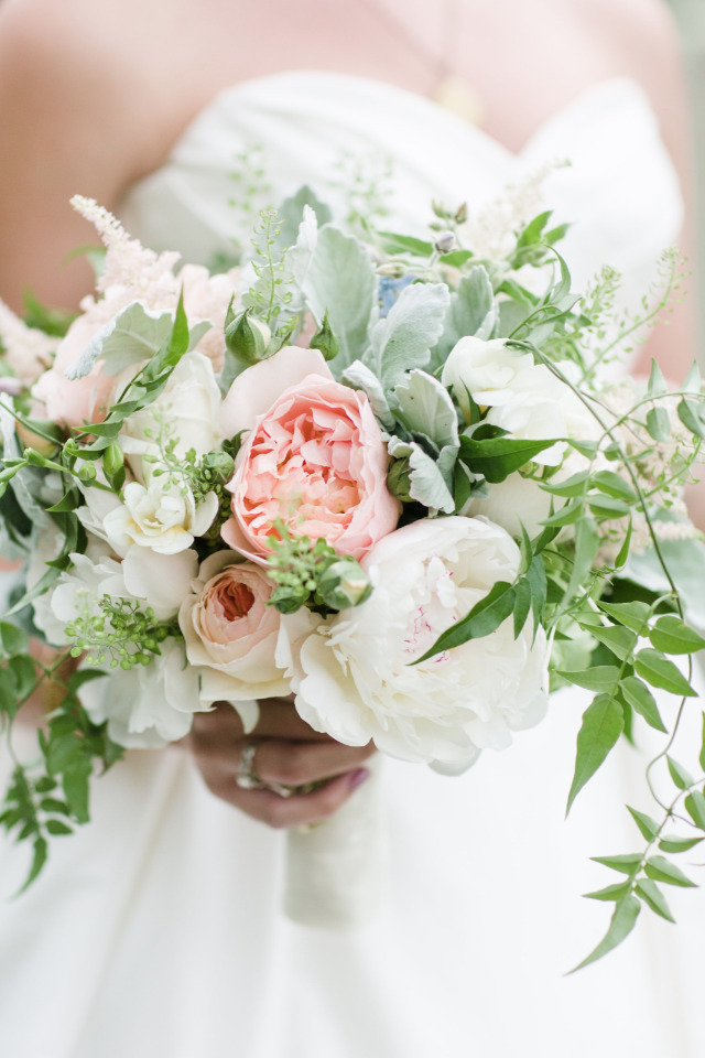 wild and organic pink and white wedding bouquet