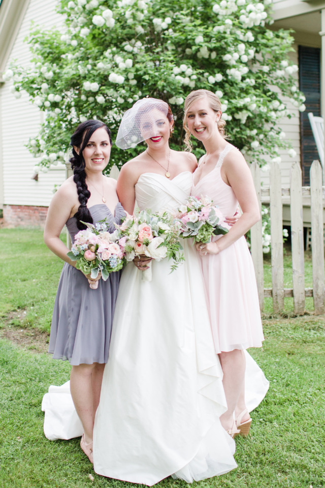 pastel pink and purple bridesmaids dresses
