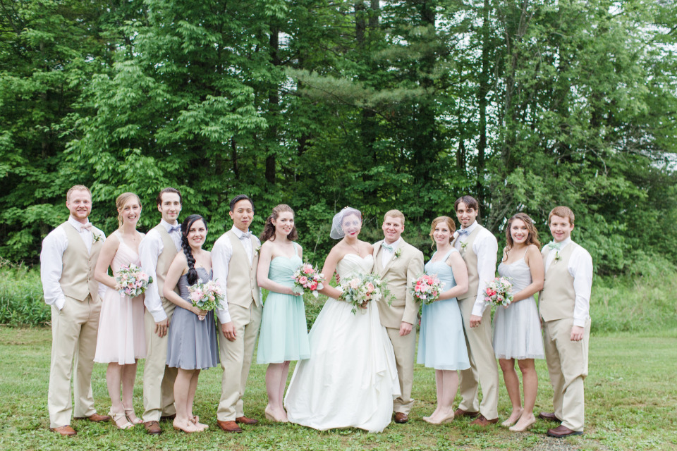 pastel wedding party attire