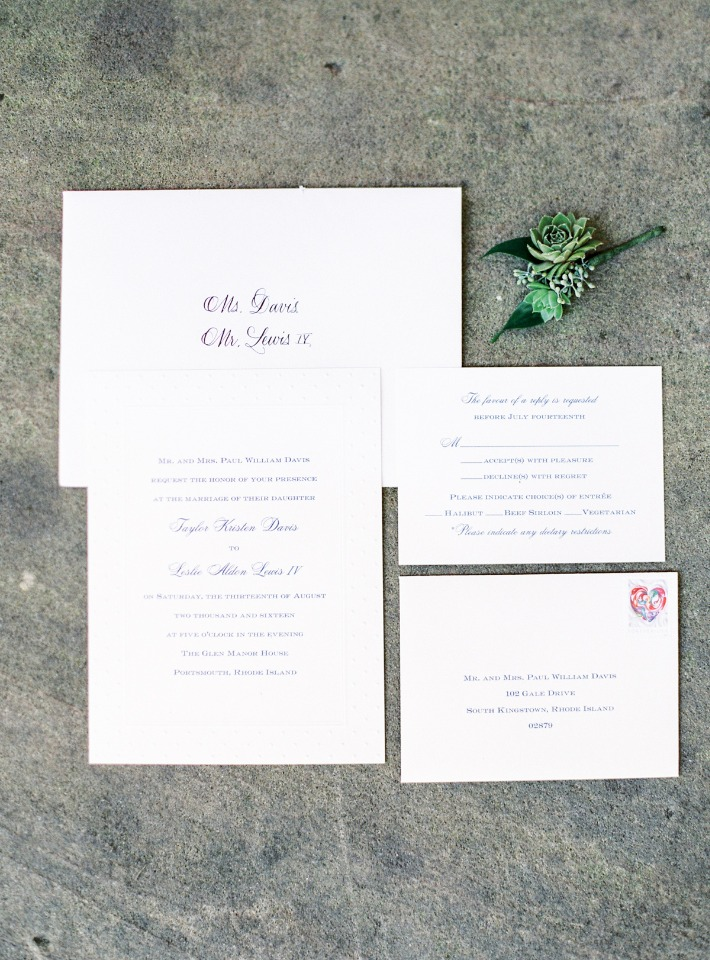 Simple white wedding invitations