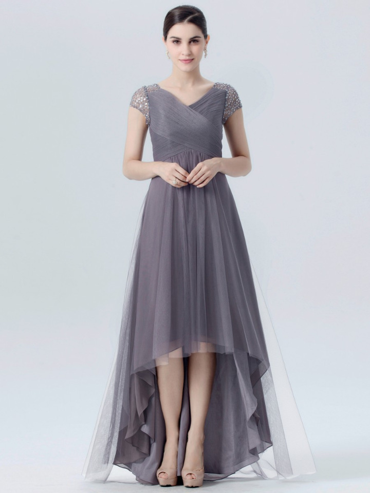 charcoal grey high-low chiffon bridesmaid dress with beaded sleeves