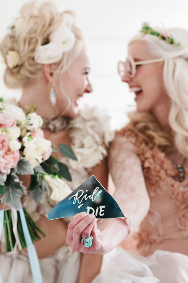 ride or die fun boho hipster wedding idea