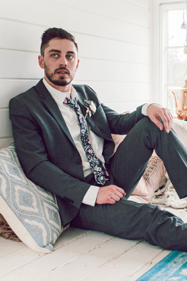 hipster groom with floral tie