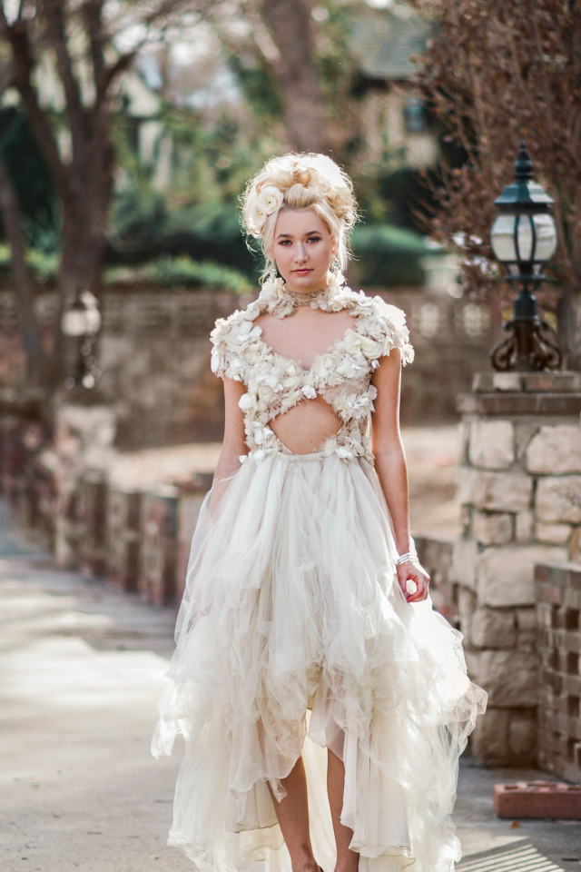 bohemian edgy wedding dress from Michelle Hebert