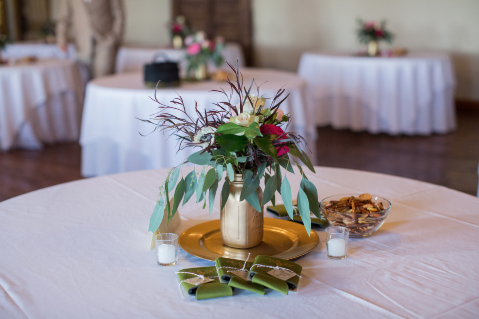pink and gold wedding reception tables