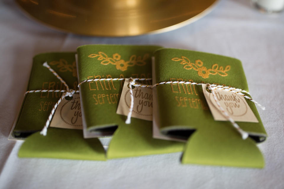 custom cozie wedding favors