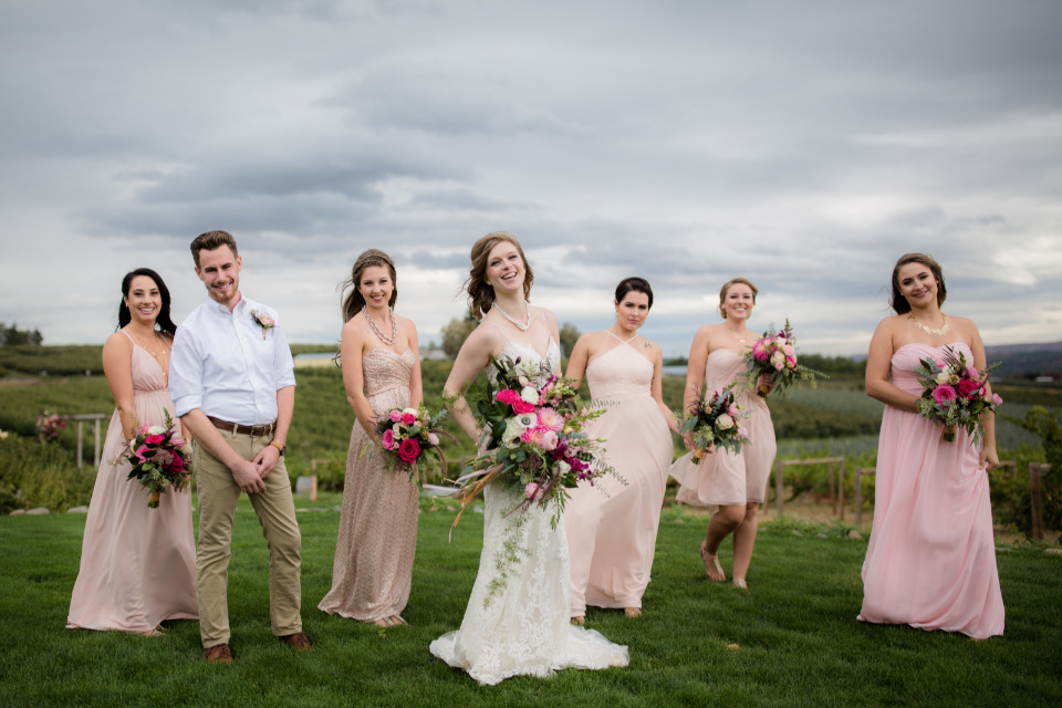 mix and match pink bridesmaid dresses