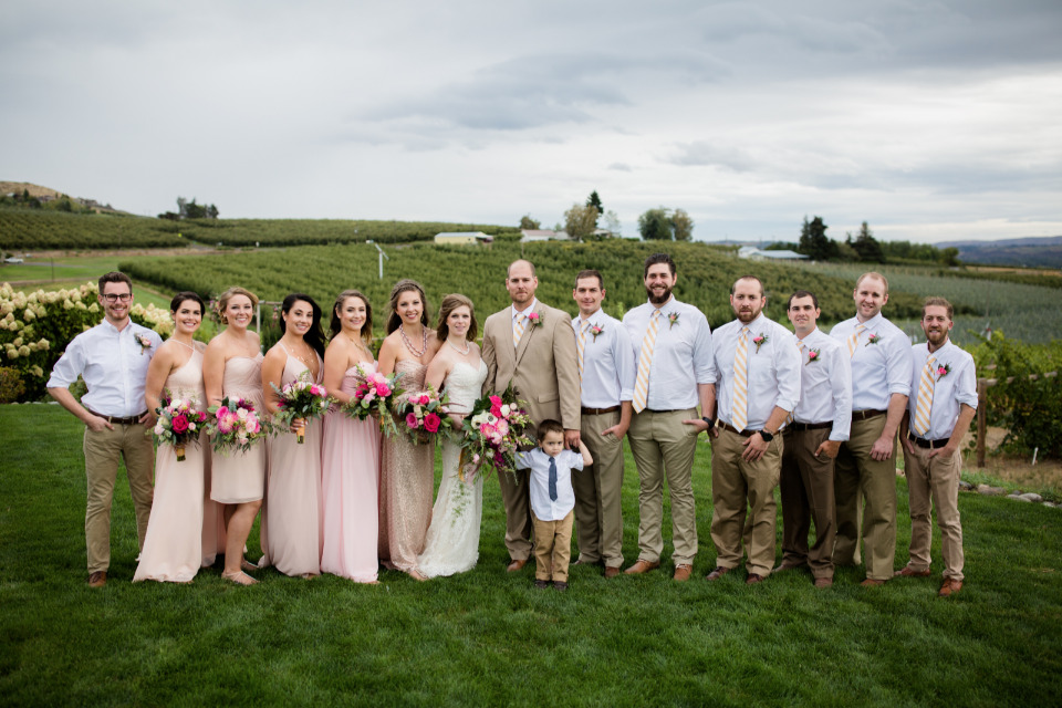 pink and yellow wedding party attire
