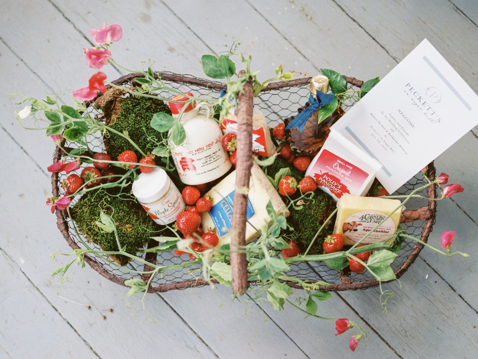 "Cute ""freshly picked"" welcome basket"