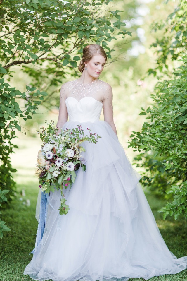 Gorgeous bridal look in a soft blue gown