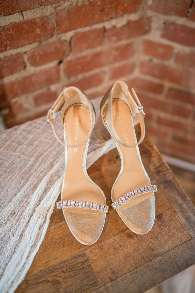 Badgley Mischka gold wedding shoes