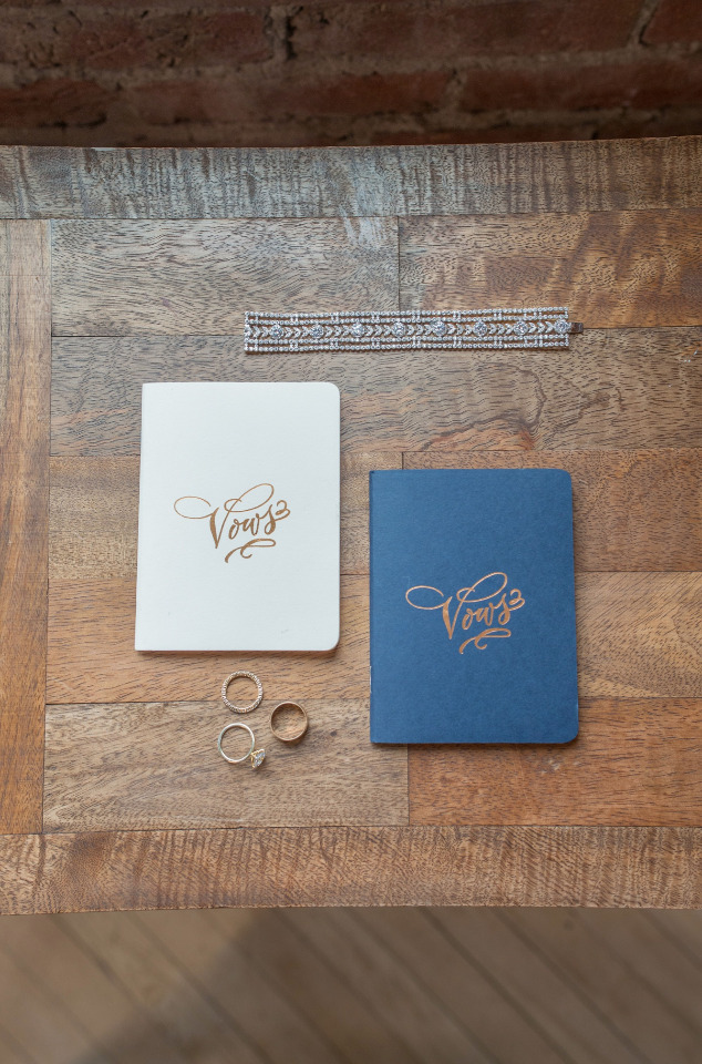 blue and white letterpress vow books