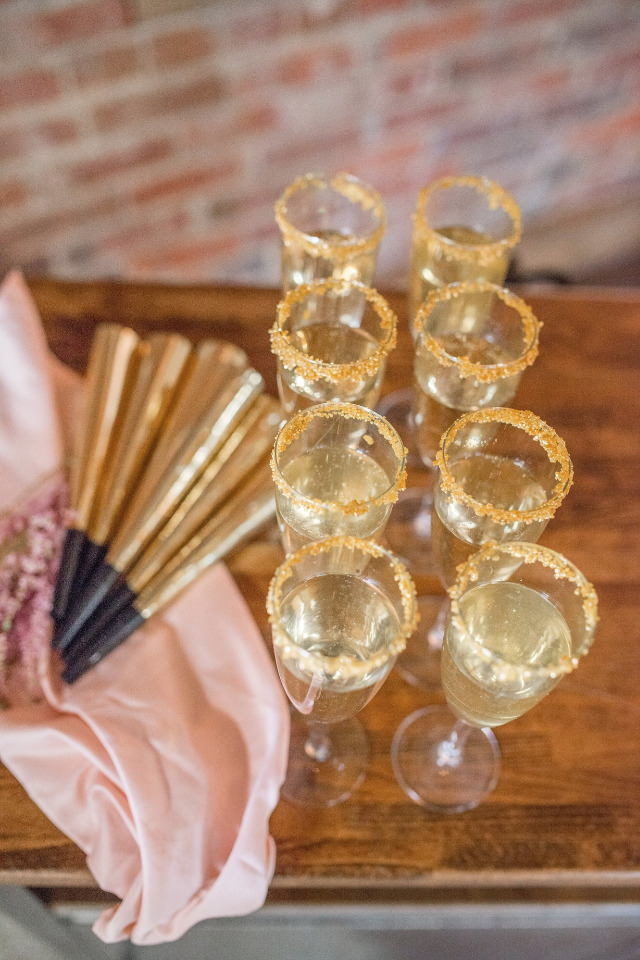 champagne and noise makers for a NYE wedding
