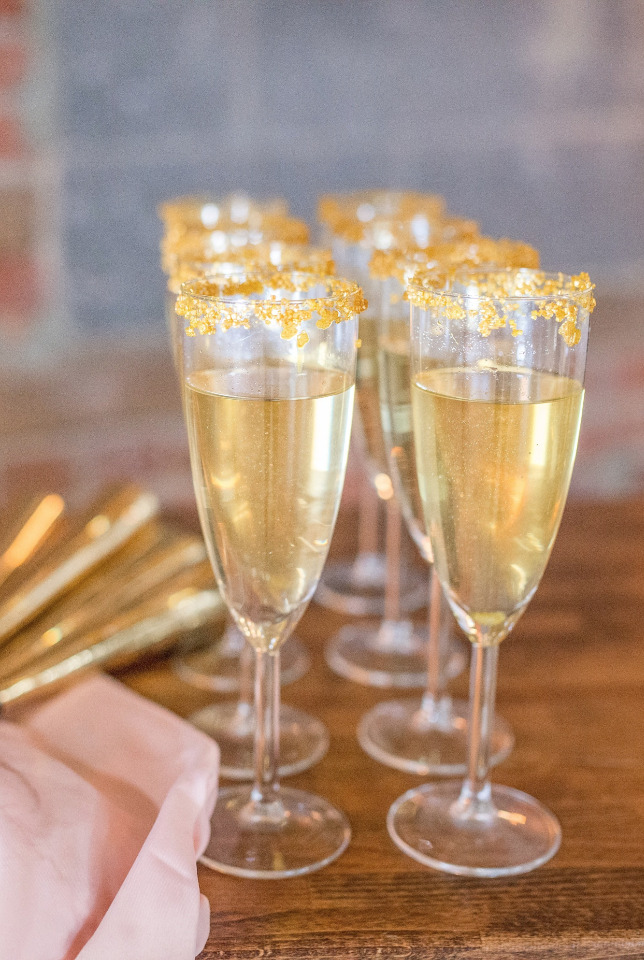 gold crusted champagne wedding drink