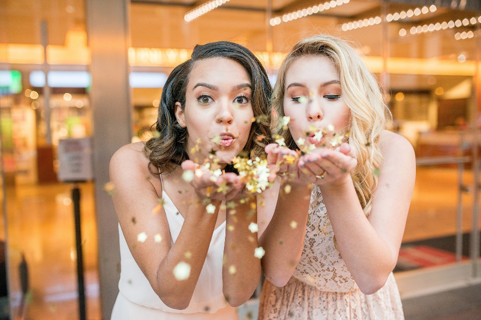 bridesmaids and confetti for a NYE wedding