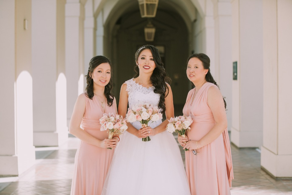 Bridal party in blush