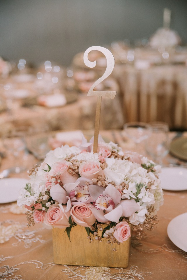 Gold box centerpiece table number