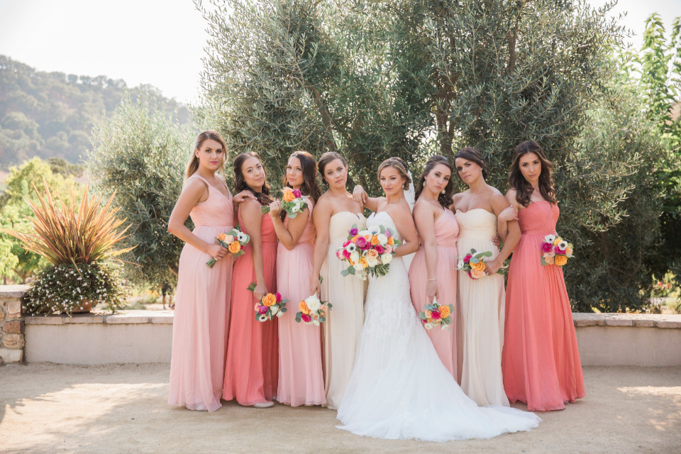 mixed peach and pink bridesmaid dresses