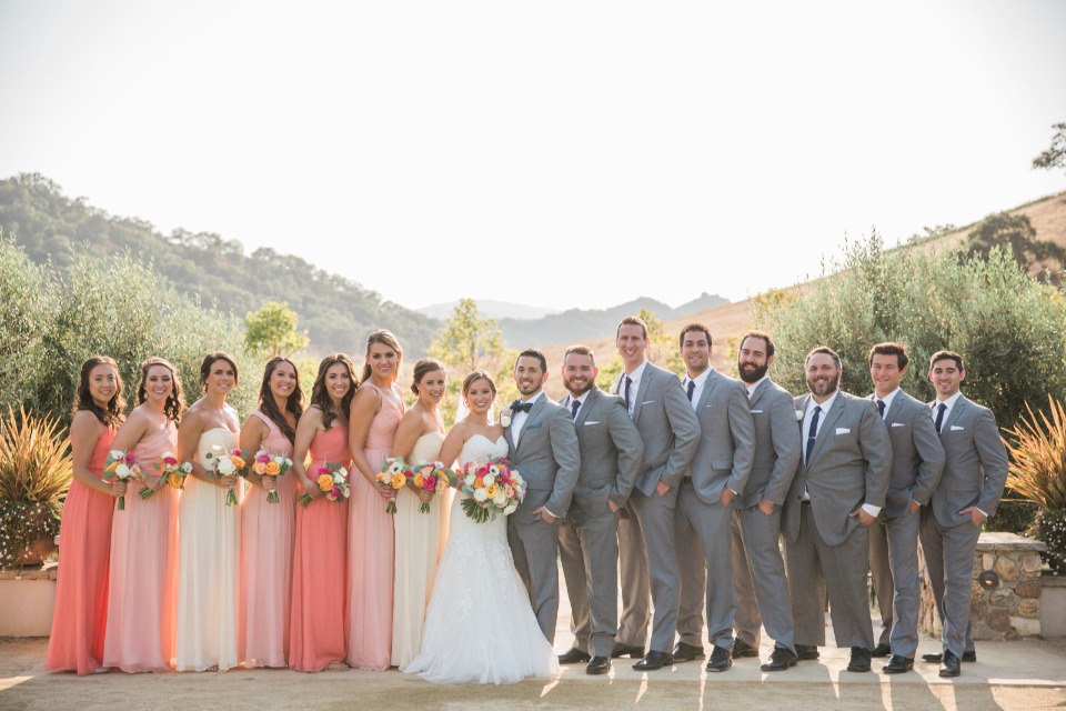 pink peach and grey wedding party attire