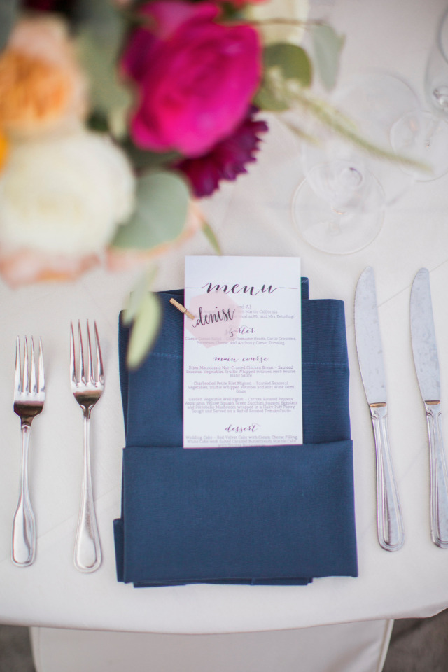 navy wedding napkins and cute menu