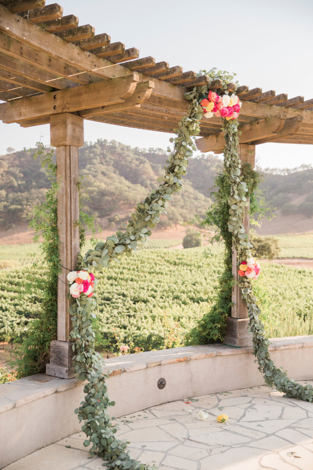 floral garland wedding ceremony backdrop