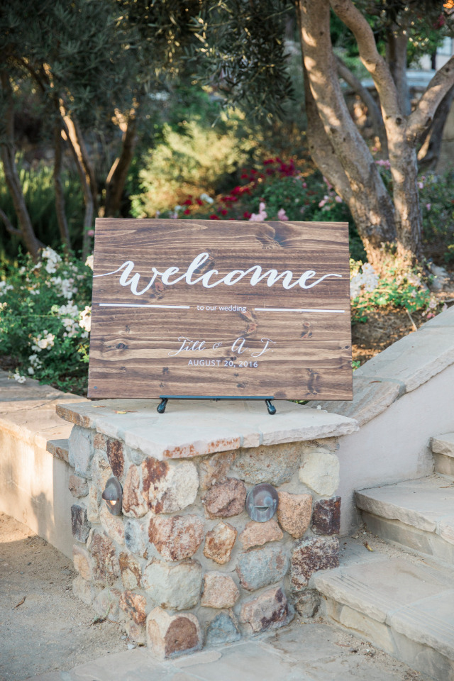 wood welcome wedding sign