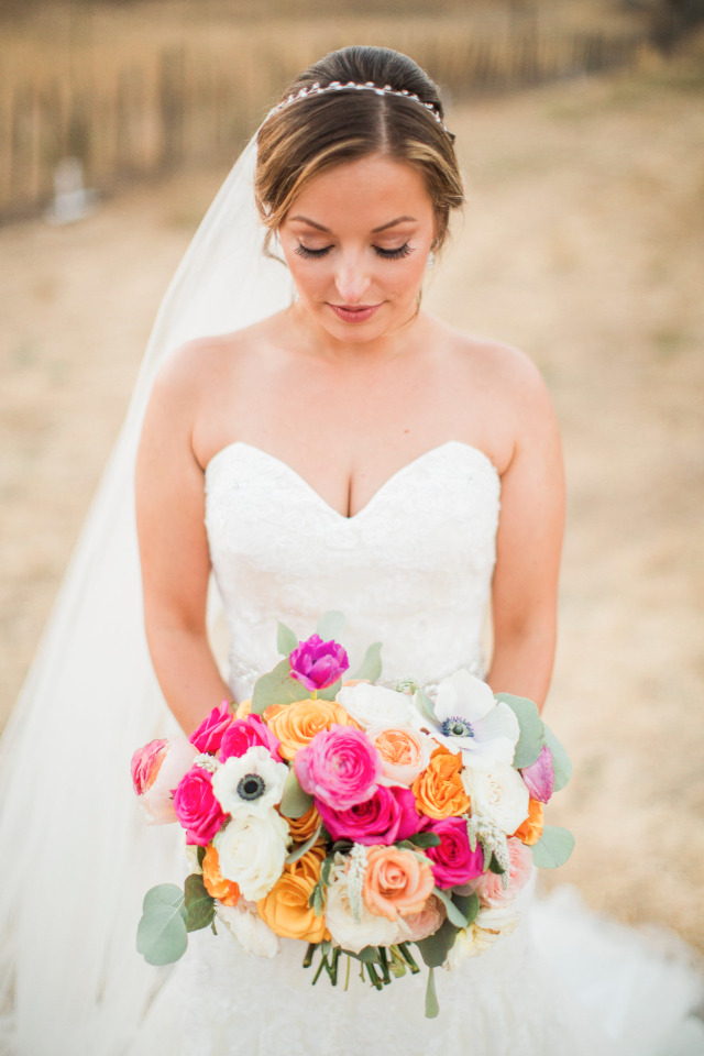 pink and yellowe rose wedding bouquet
