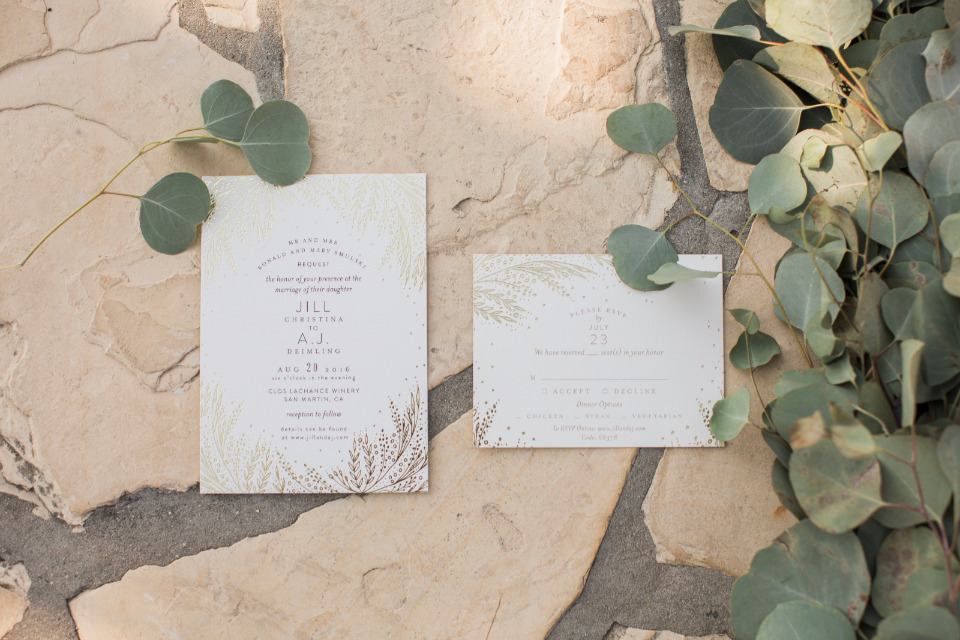 gold and white wedding invites