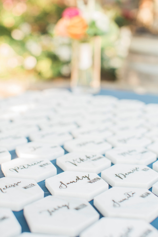 marble wedding escort cards with calligraphy