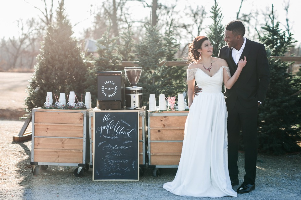 coffee bar to warm up your winter wedding guests