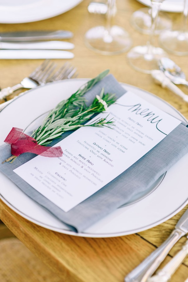 Chic wedding menu and placesetting