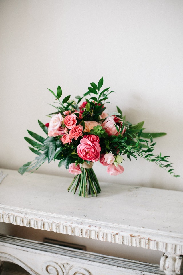 romantic pink wedding bouquet