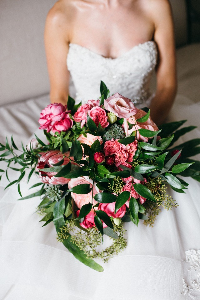 over sized wedding bouquet