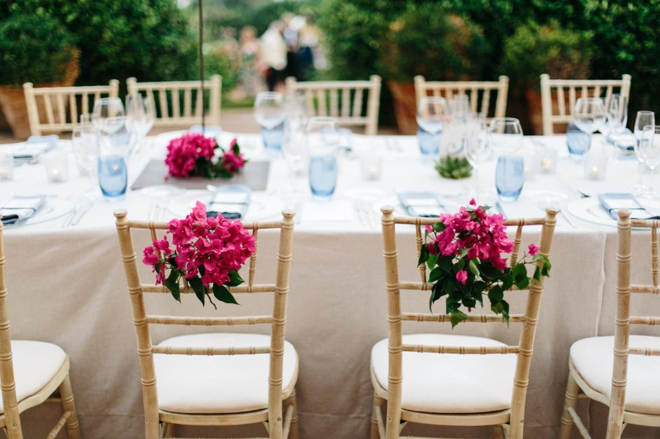 flower accented bride and groom seats