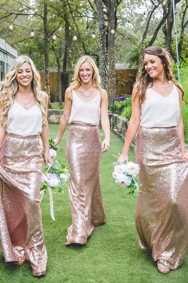 two piece Revelry bridesmaid dresses