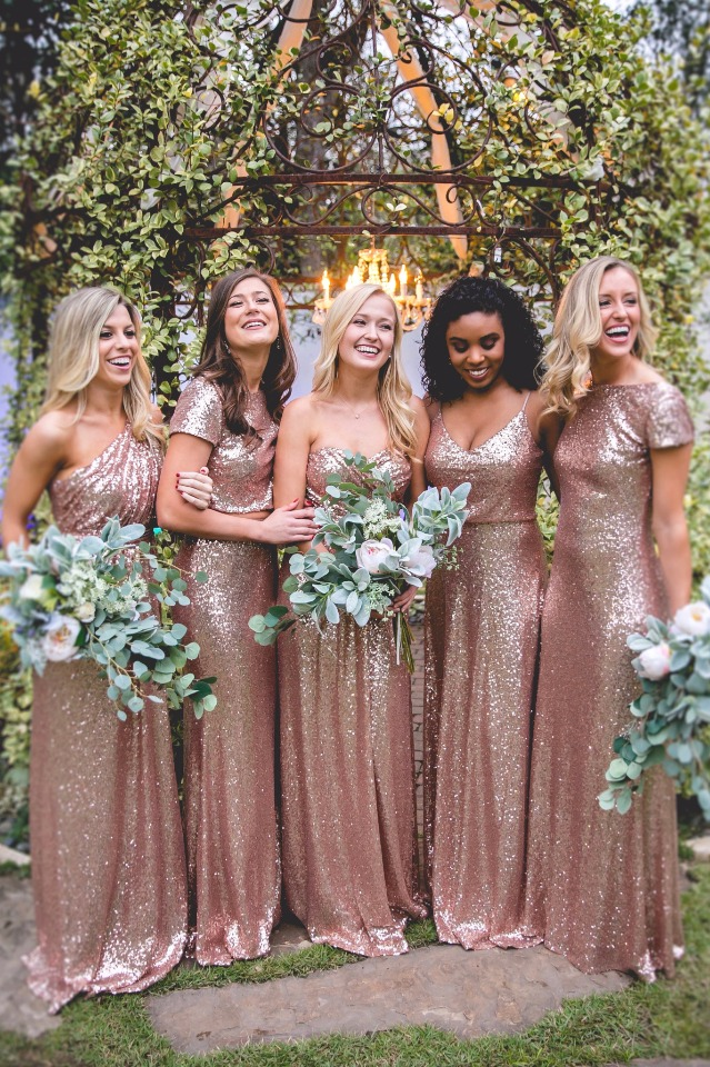 metallic sequin bridesmaid dress from Revelry