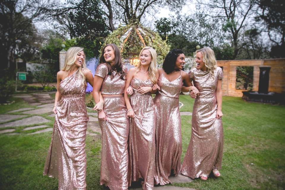 looking metallic glam in Revelry bridesmaid dresses